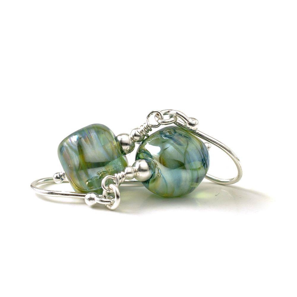 Lampwork Glass Nugget Earrings