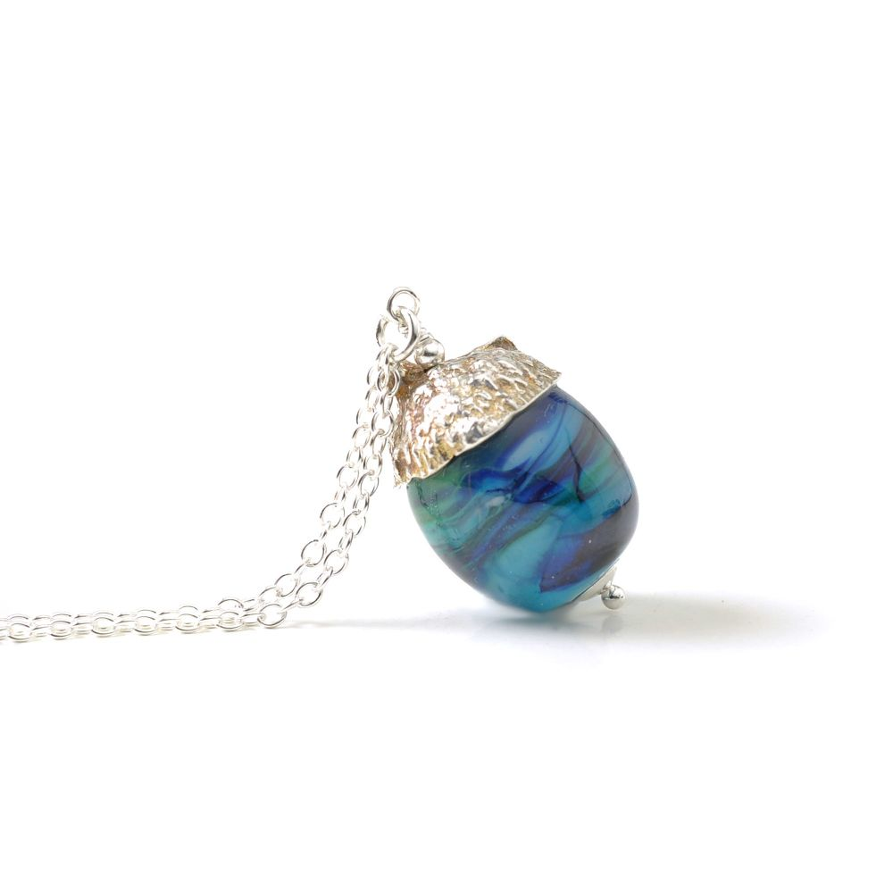 Acorn Necklace - Deep Aqua