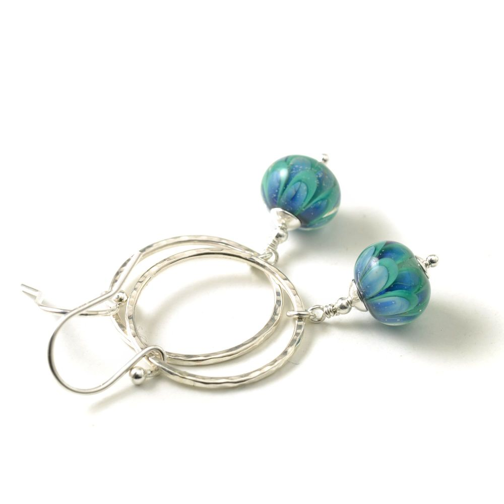 Peacock Petal Drop and Silver Hoop Earrings