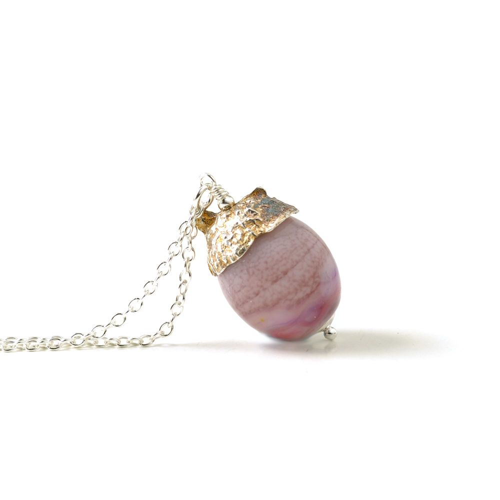 Acorn Necklace - Heather Pink