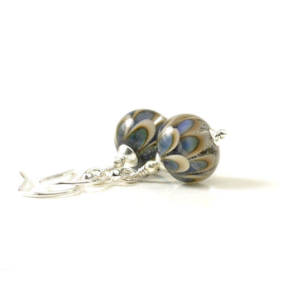 Blue and Grey Petal Lampwork Glass Earrings