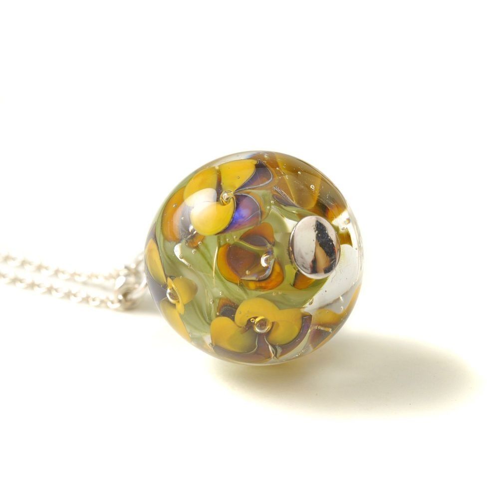 Winter Violet Long Glass Flower Necklace