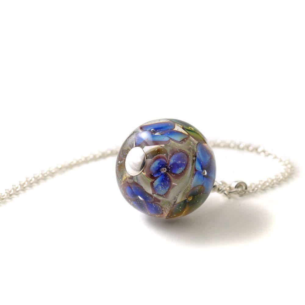 Deep Blue Long Glass Flower Necklace