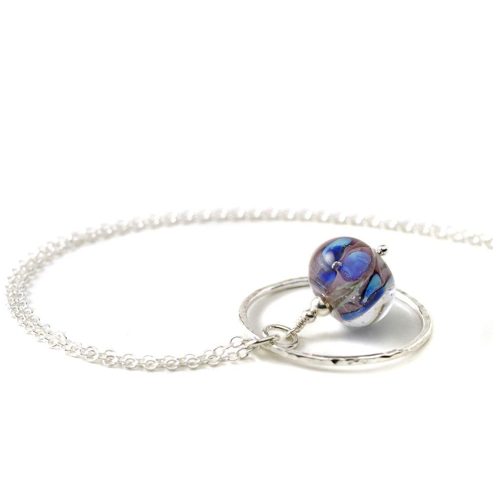 Violet Blue Lampwork Glass Flower and Silver Hoop Necklace