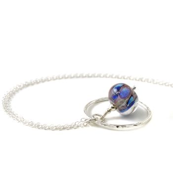 Violet Blue Lampwork Glass Flower and Silver Hoop Necklace