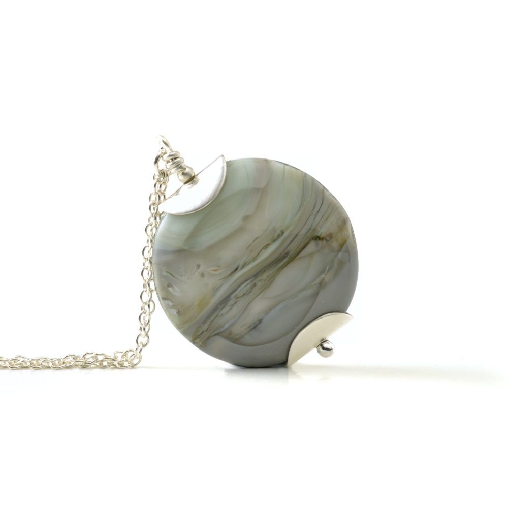 Layered Grey Lampwork Glass Pendant Necklace