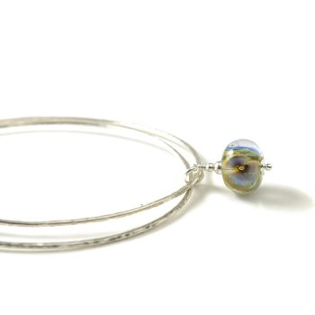 Blue Flower Sterling Silver Charm Bangles