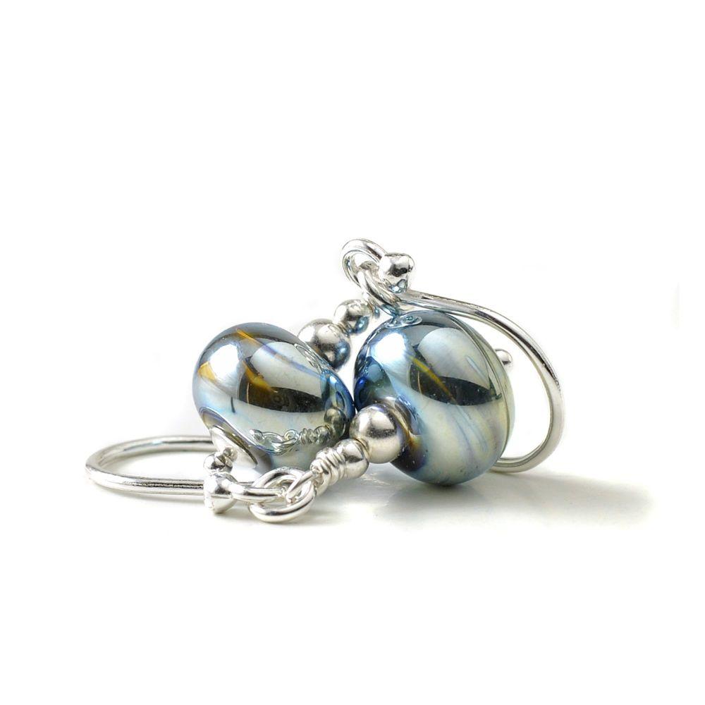 Metallic Lampwork Glass Earrings