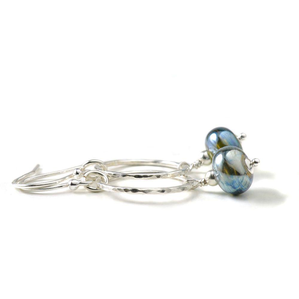 Metallic Lampwork Glass and Sterling Silver Hoop Earrings