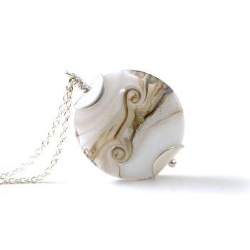 White Smoke Lampwork Glass Pendant Necklace