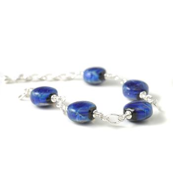 Vivid Blue Handmade Glass and Sterling Silver Bracelet