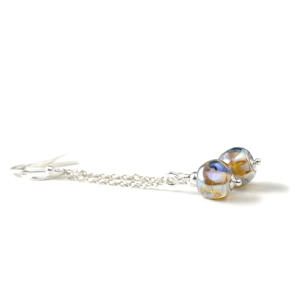 Light Metallic Glass Nugget Lampwork Dangle Earrings