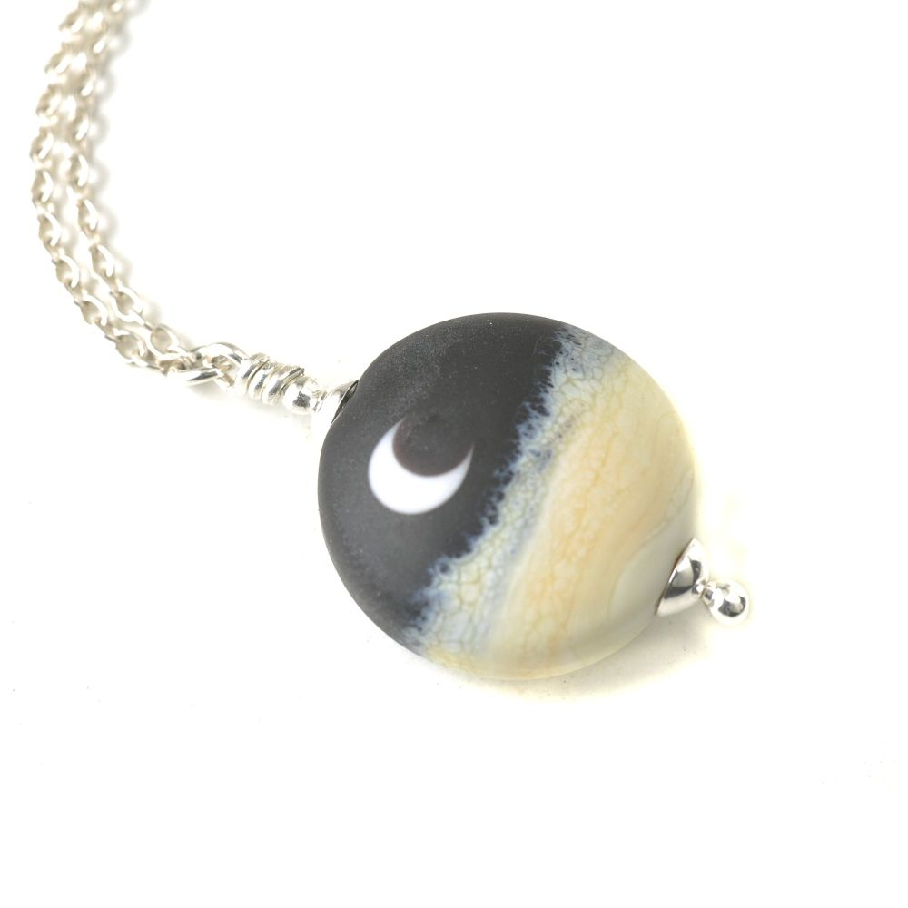 Little Luna Lampwork Glass and Sterling Silver Necklace