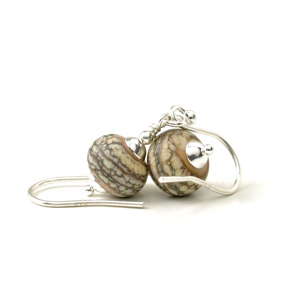Tumbled Stone Lampwork Glass Earrings