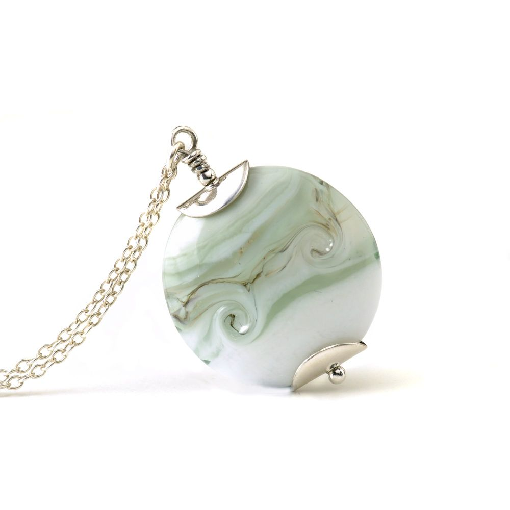 Pale Mint Lampwork Glass Pendant Necklace