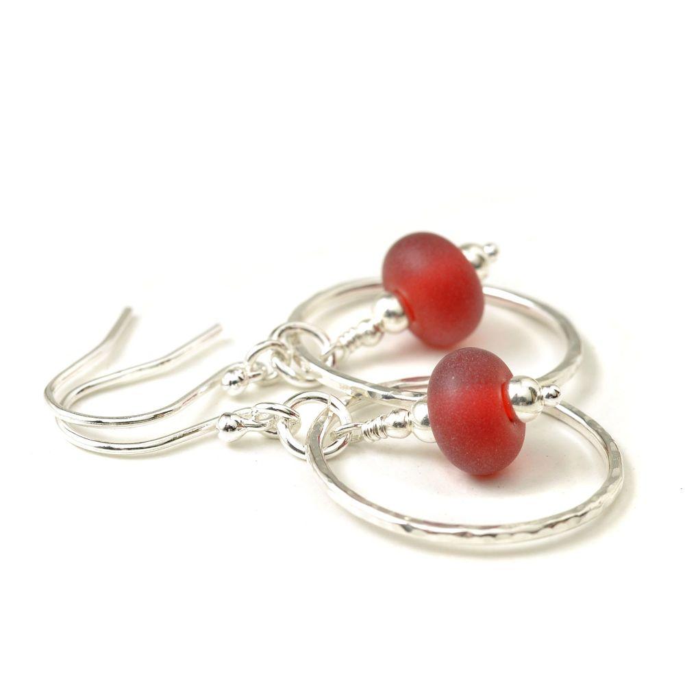 Bright Red Lampwork Glass Hoop Earrings