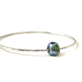 Sterling Silver Nugget Spinner Bangle