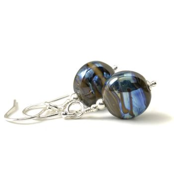 Inky Blue Lampwork Glass and Sterling Silver Earrings