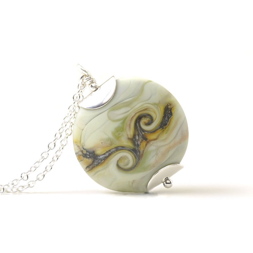 Lampwork Glass Necklace in Pale Green