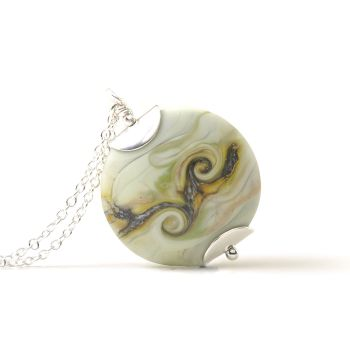 Tumbled Twist Lampwork Glass Necklace in Pale Green