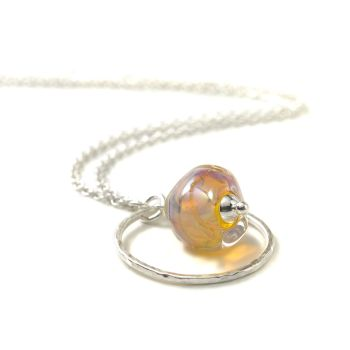 Glass Nugget and Sterling Silver Hoop Necklace