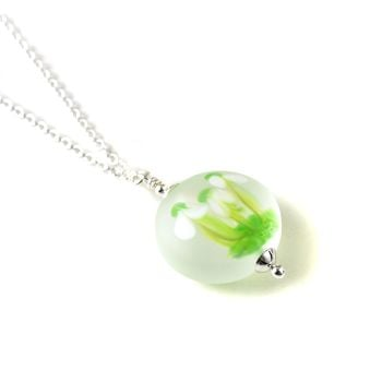 Snowdrop Lampwork Glass Necklace