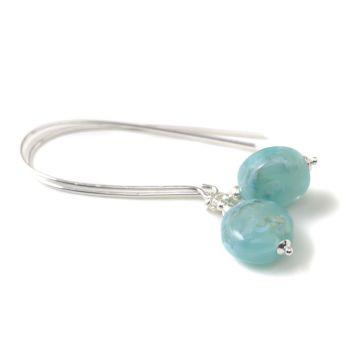Summer Sky Blue Lampwork Glass and Sterling Silver Earrings