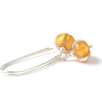 Long Apricot Flower Sterling Silver Lampwork Glass Earrings