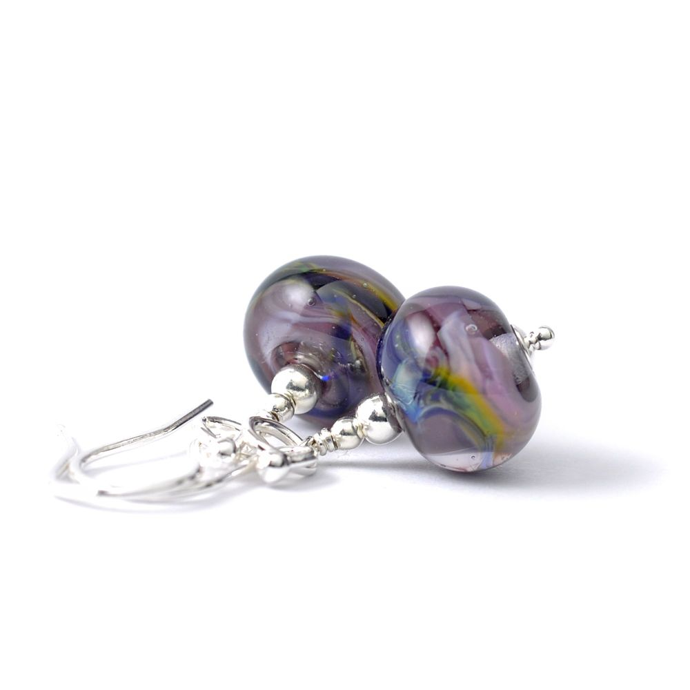 Violet Blue Lampwork Glass and Sterling Silver Earrings