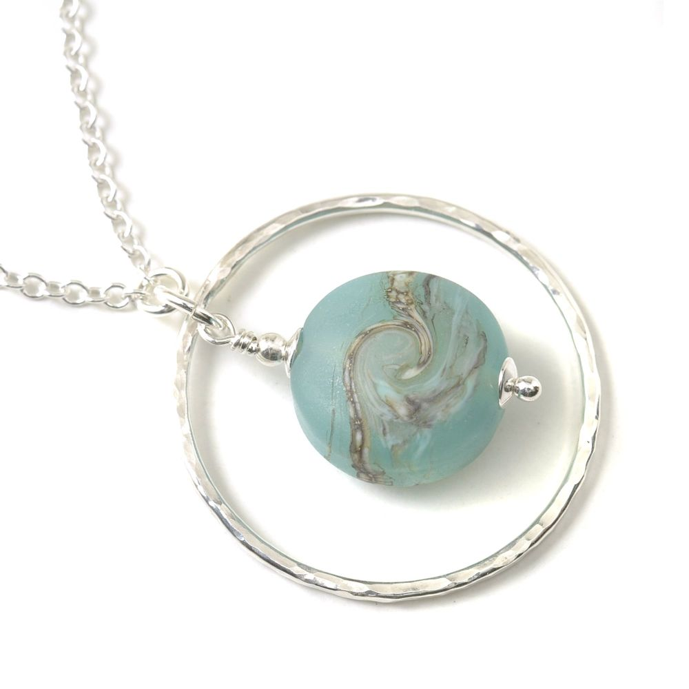 Waves Lampwork Glass and Silver Hoop Necklace