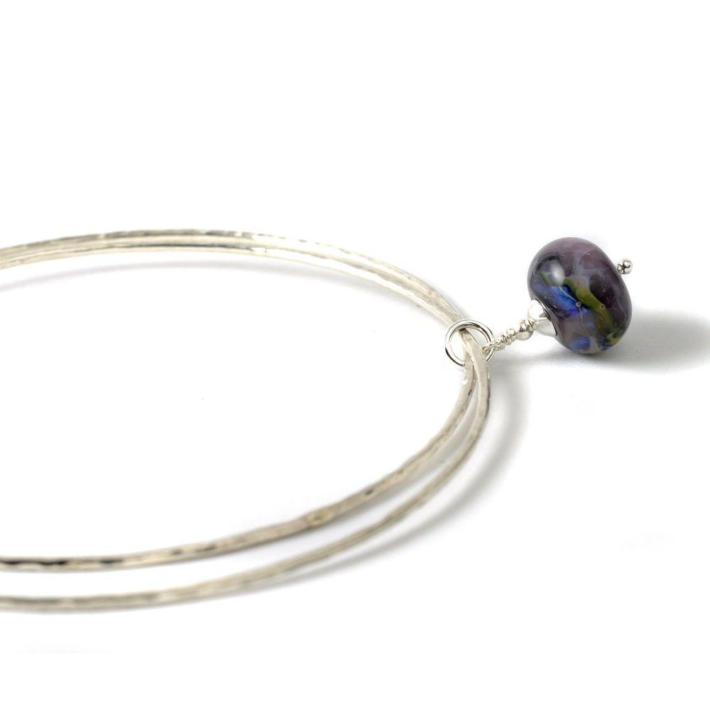 Violet Blue Sterling Silver Charm Bangles