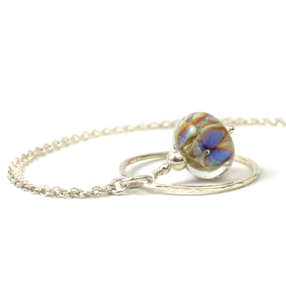 Blue Lampwork Glass Flower and Silver Hoop Necklace