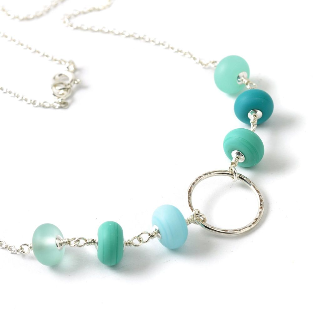 Sea Circle Lampwork Glass and Silver Hoop Necklace