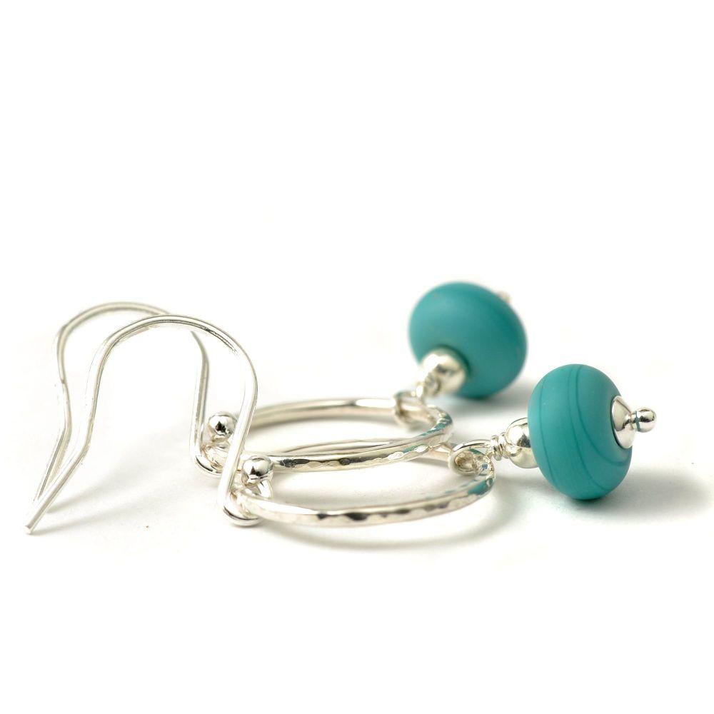 Dark Aqua Sea Circle Glass and Sterling Silver Hoop Earrings