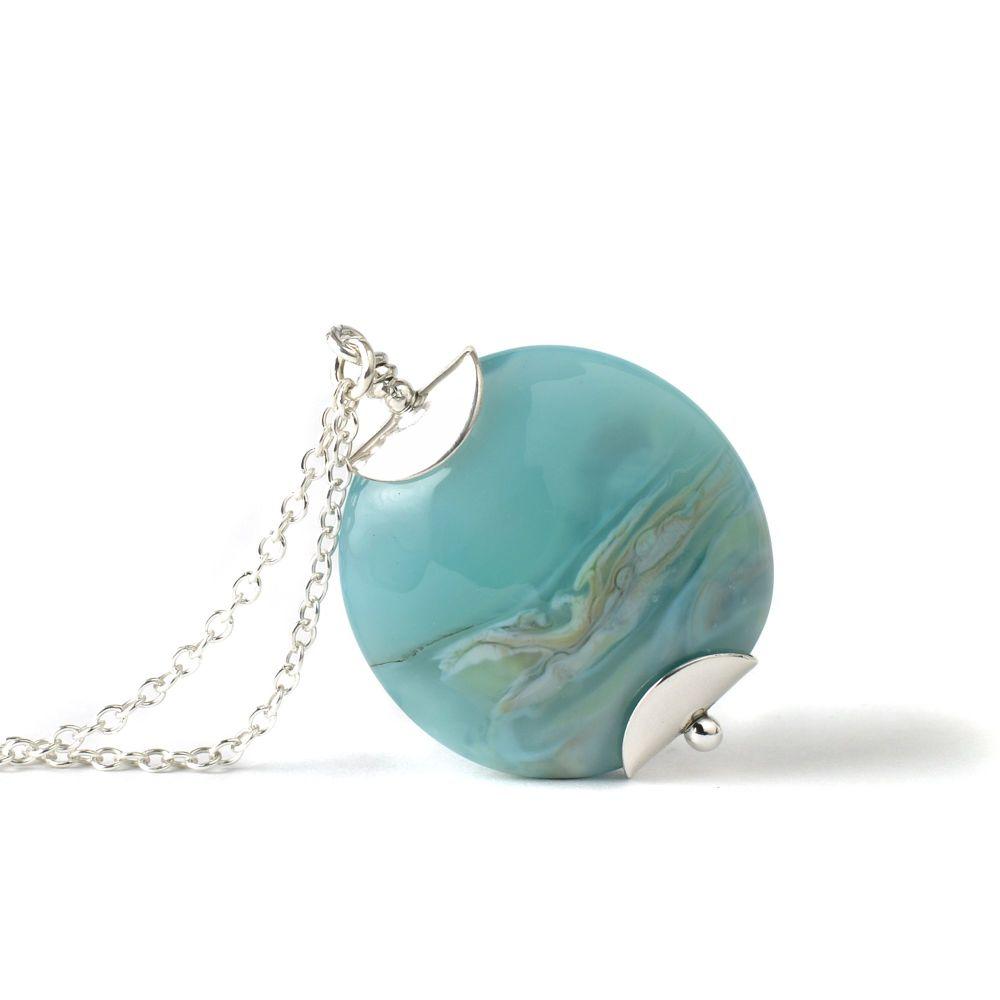 Blue Tide Lampwork Glass Pendant Necklace