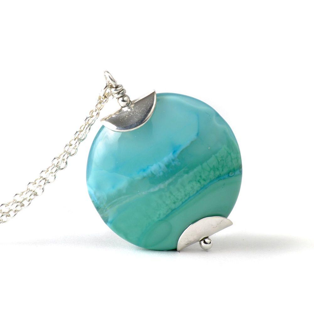 Aqua Surf Lampwork Glass Pendant Necklace