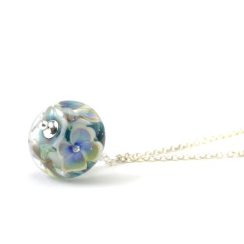 Blue and White Glass Flower Necklace