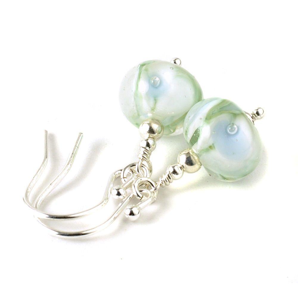 White Floral Sterling Silver Lampwork Glass Earrings