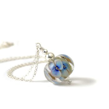 Light Blue and White Glass Flower Necklace