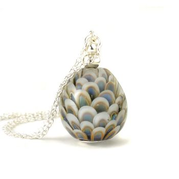 Muted Blues Long Glass and Silver Necklace