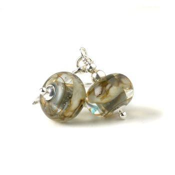 Stormy Grey Lampwork Glass Drop Earrings