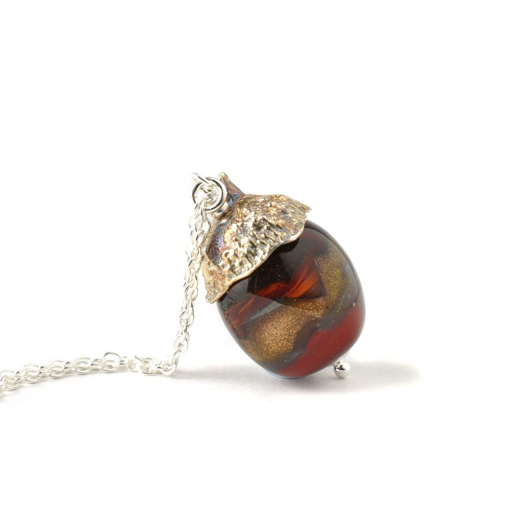 Acorn Necklace - Fire Red