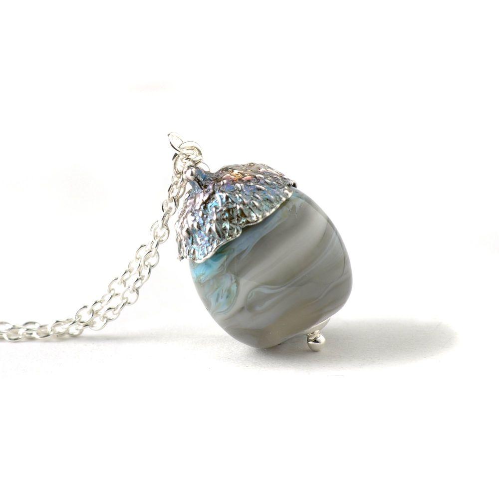 Acorn Necklace - Blue Grey