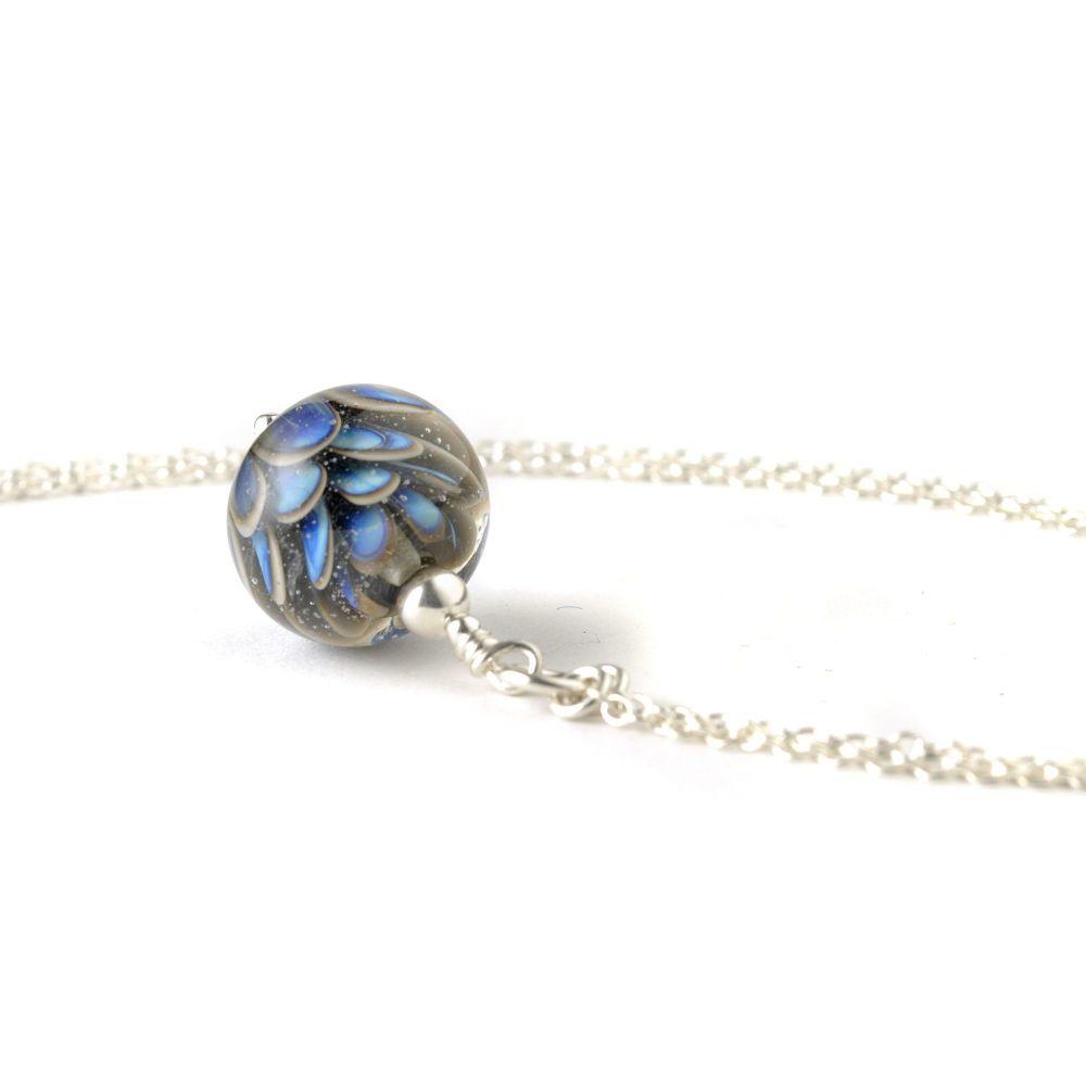 Small Blue Grey Lampwork Glass Petal Necklace
