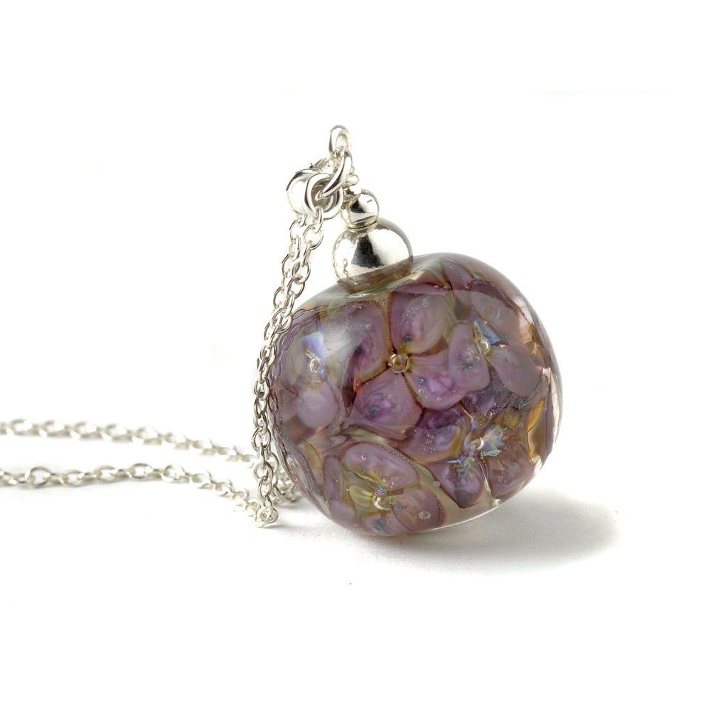 Purple Long Lampwork Glass Flower Necklace