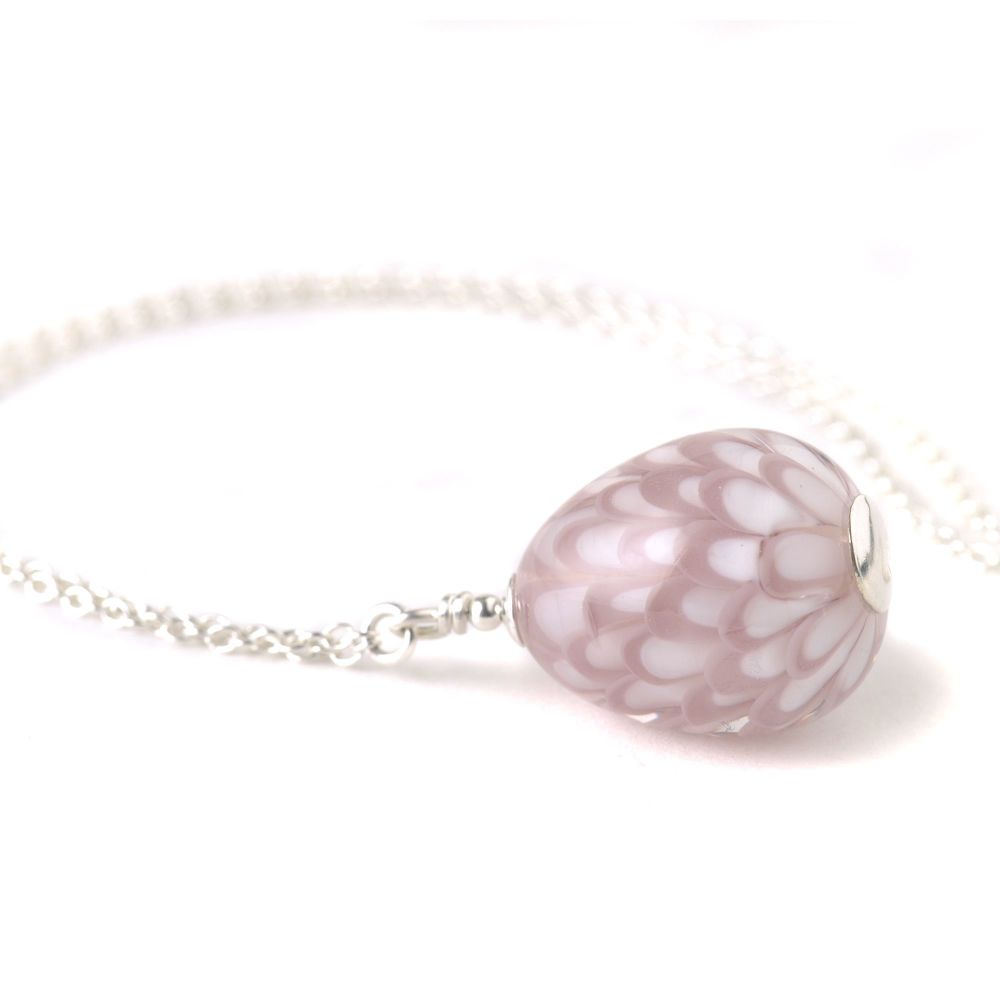 Pink and White Teardrop Lampwork Glass and Sterling Silver Necklace