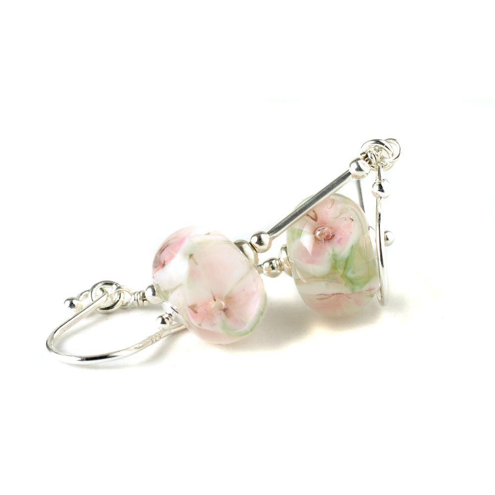 Pink Floral Sterling Silver Stem Drop Earrings