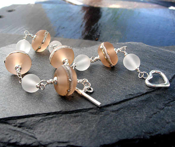 Silvered Nude Lampwork Glass Bracelet