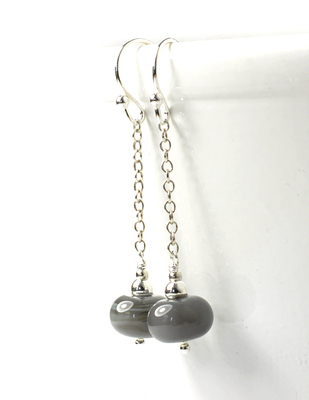 Smokey Joe Lampwork Glass Earrings