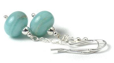 Summer Skies Pale Blue Lampwork Glass Earrings